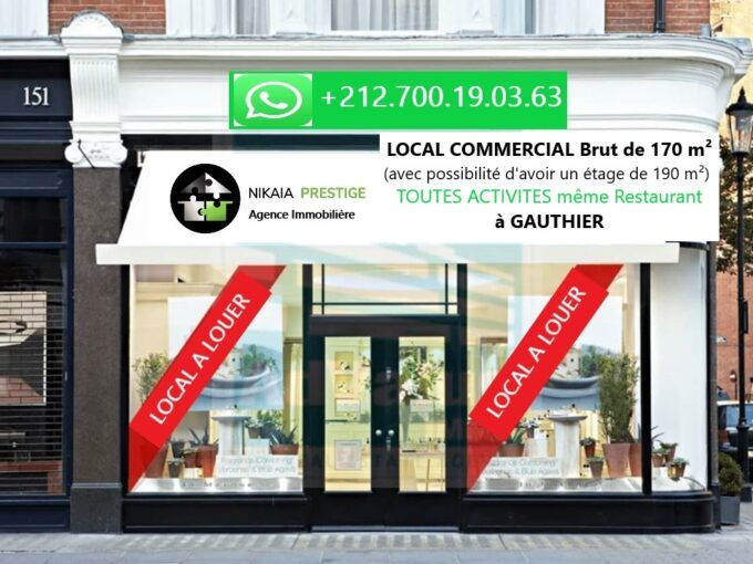 Location LOCAL COMMERCIAL Brut de 170 m², quartier GAUTHIER